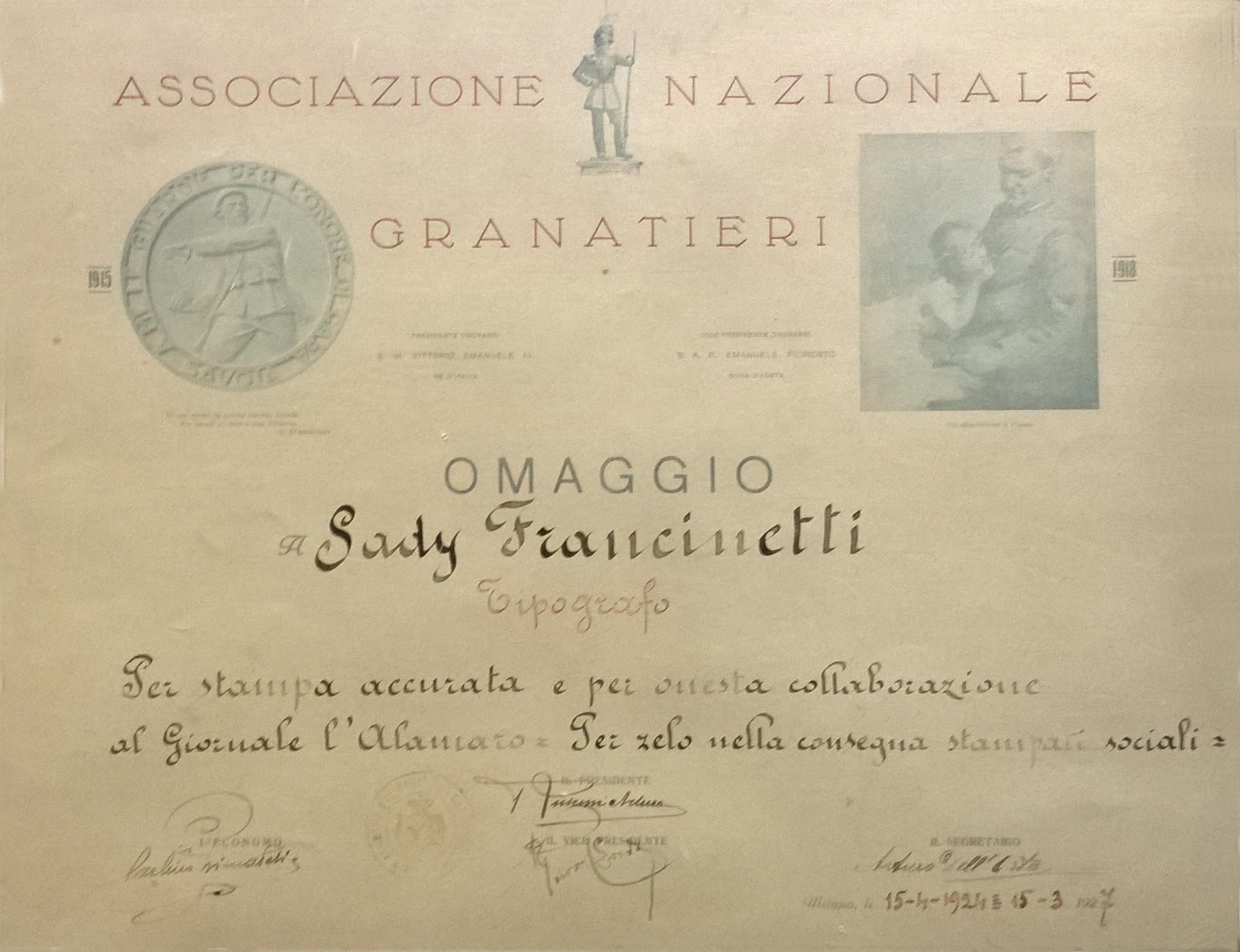 riconoscimento - tipografia sady francinetti